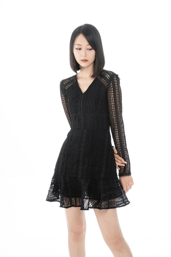 GZ Dress Loretta Black Lace Dress (Pre-order 10/12) Cocktail Lace Ruffle Offshoulder Ribbon Onepiece Openback Work Dating Birthday Wedding