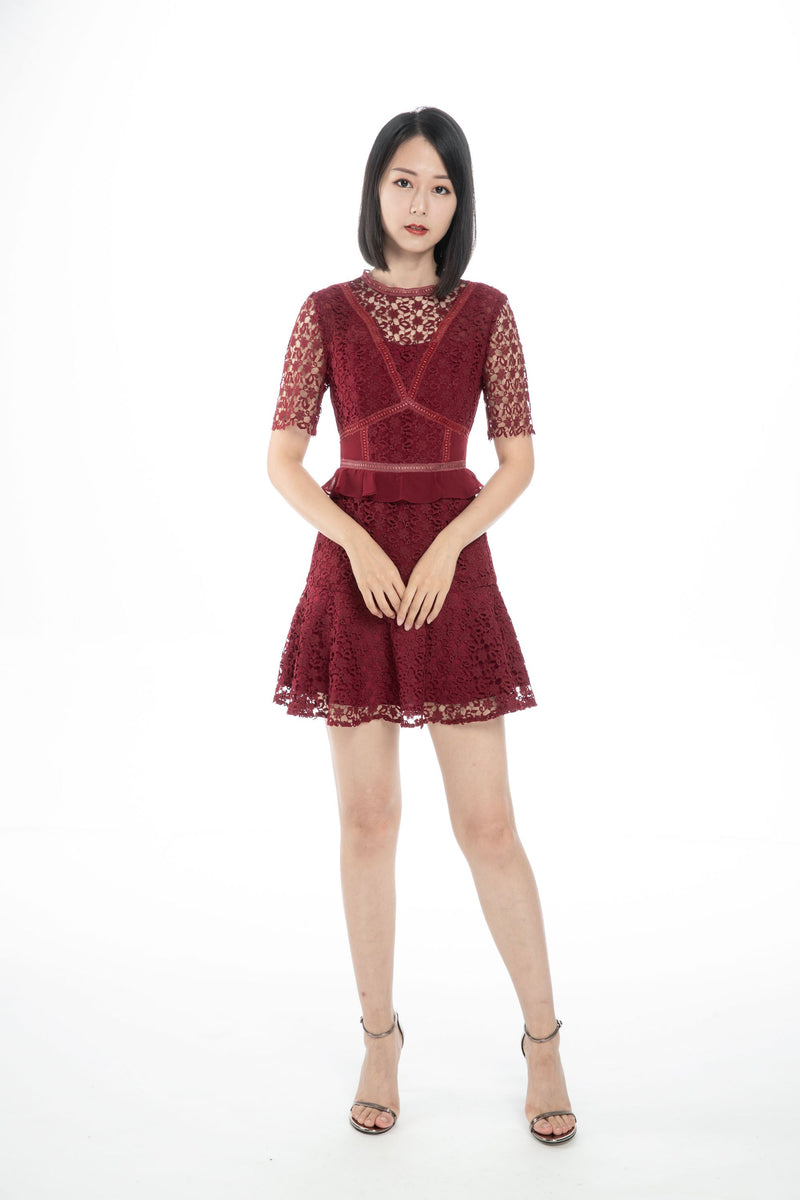 GZ Dress Rosalie Burgundy Dress Cocktail Lace Ruffle Offshoulder Ribbon Onepiece Openback Work Dating Birthday Wedding