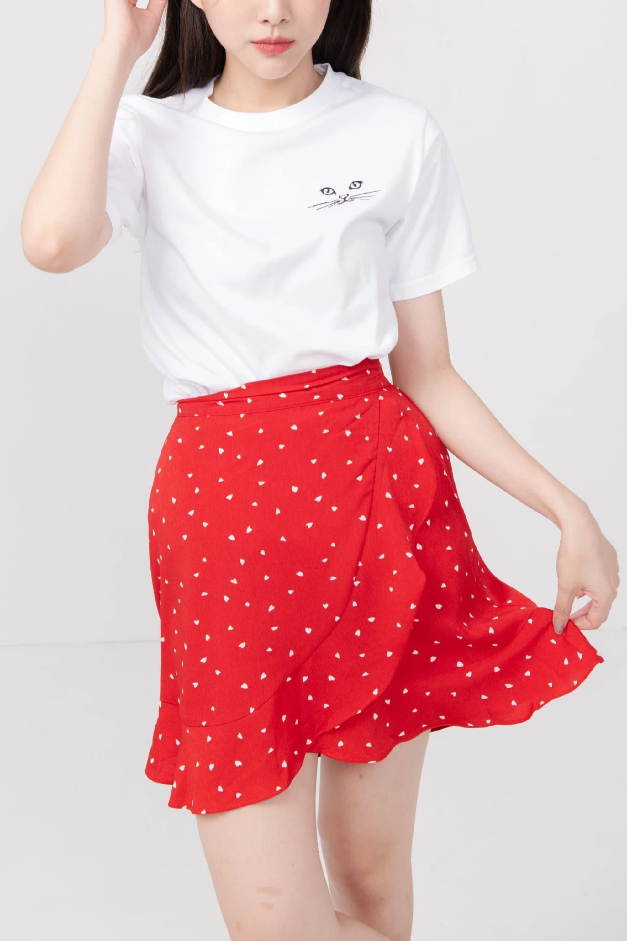 MyAleshia Little Hearts Red Skirt