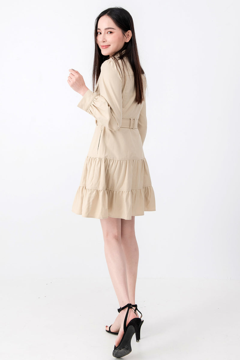 SZ Dress Kila Beige Dress (Pre-order 15/11) Cocktail Lace Ruffle Offshoulder Ribbon Onepiece Openback Work Dating Birthday Wedding