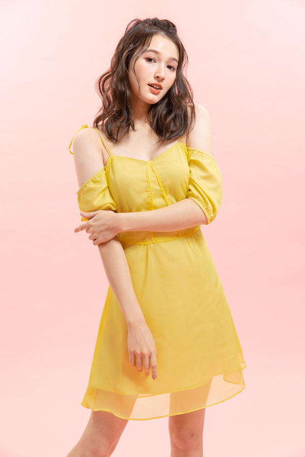 Tracy Dress Amalfi Yellow Dress Cocktail Lace Ruffle Offshoulder Ribbon Onepiece Openback Work Dating Birthday Wedding