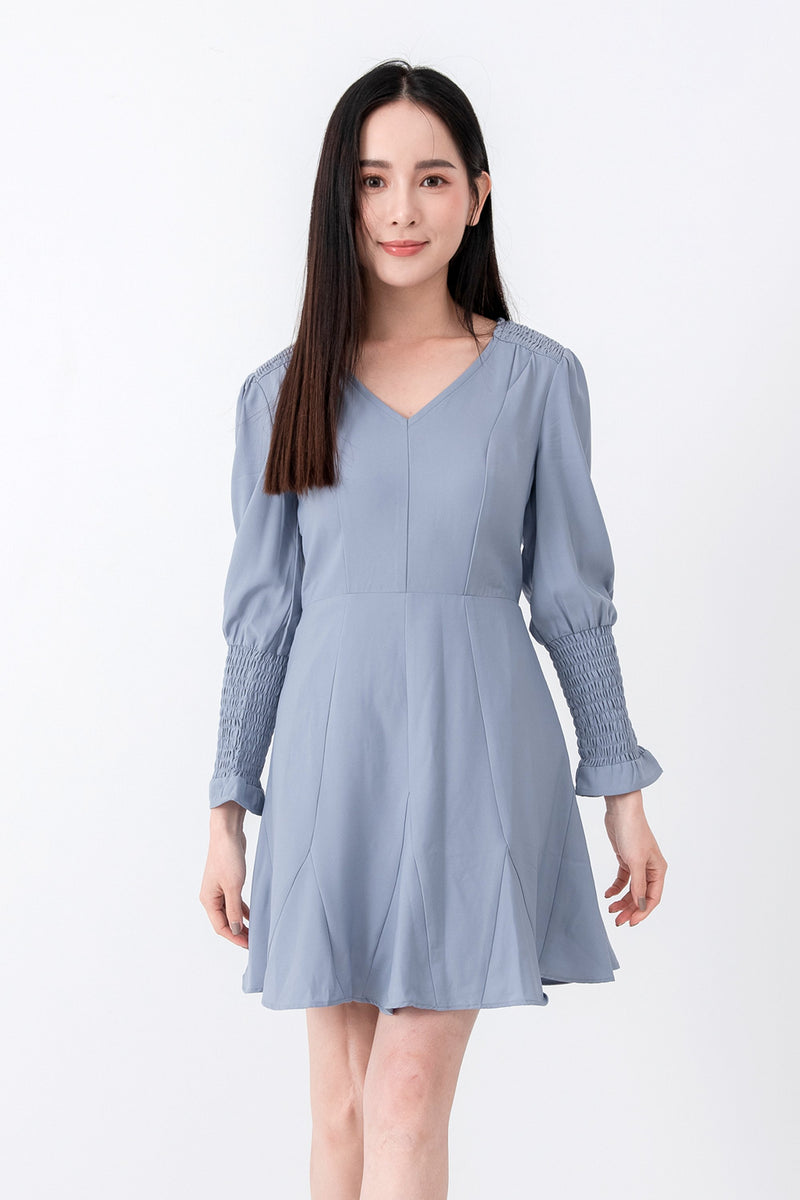 YS Dress Ellen Blue Dress (Arrived) Cocktail Lace Ruffle Offshoulder Ribbon Onepiece Openback Work Dating Birthday Wedding