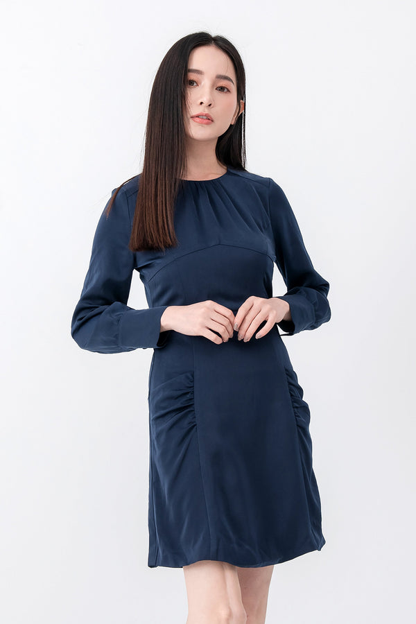 YS Dress Linna Navy Dress Cocktail Lace Ruffle Offshoulder Ribbon Onepiece Openback Work Dating Birthday Wedding