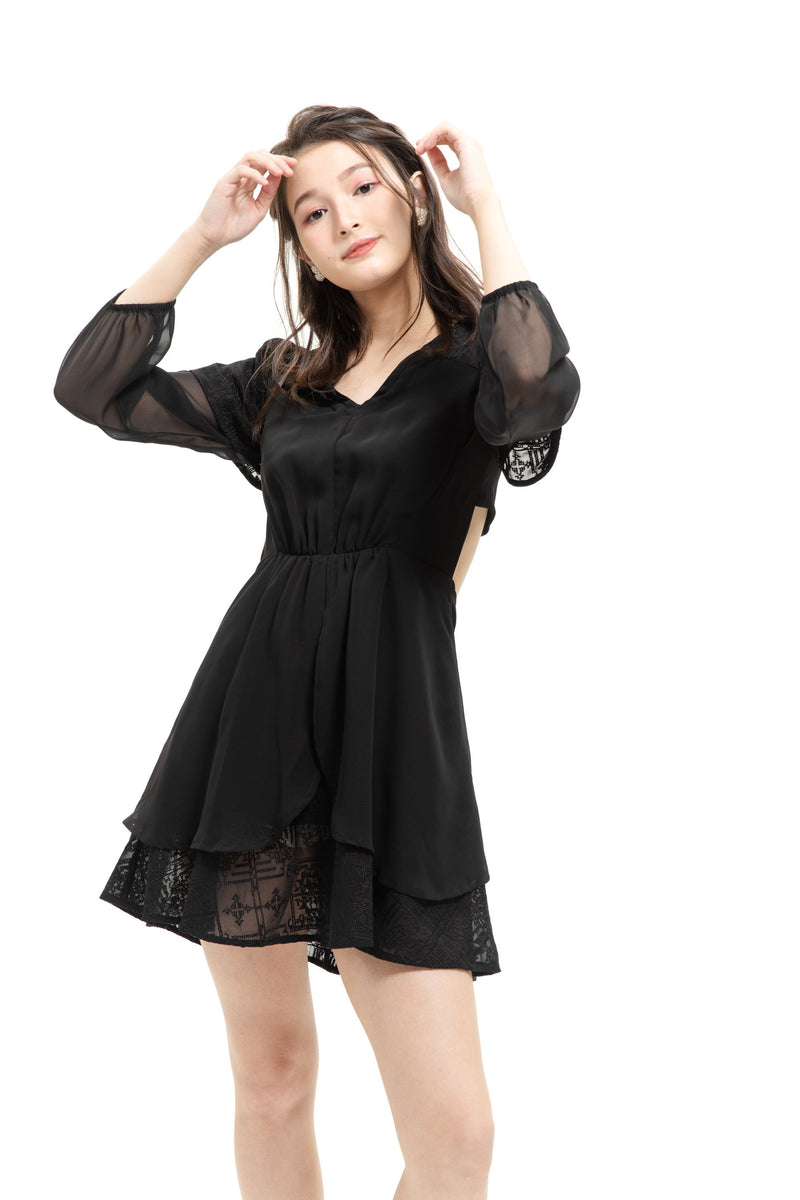 YS Dress Sabrina Black Dress (Estimate arrival date 1/2) Cocktail Lace Ruffle Offshoulder Ribbon Onepiece Openback Work Dating Birthday Wedding