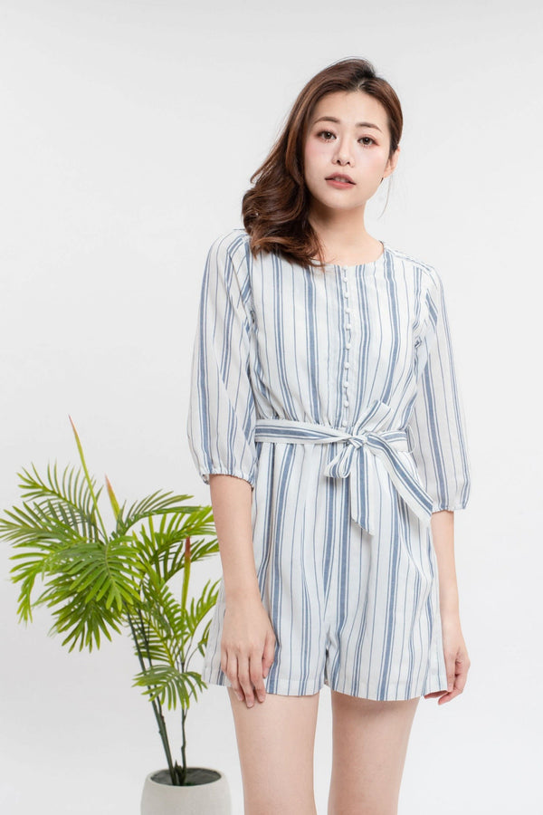 YS Jumpsuit Nicola Stripe Jumpsuit Cocktail Lace Ruffle Offshoulder Ribbon Onepiece Openback Work Dating Birthday Wedding