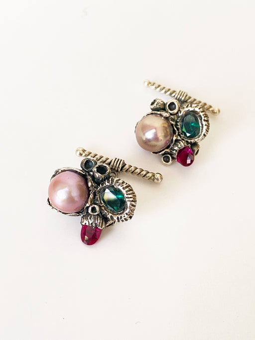 Antique Silver Cufflinks in Baroque Pearl & Cz Stone