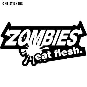 15CMX8CM ZOMBIE Eat Flesh Vinyl Car-styling Motorcycle Fashion Decals Car Stickers Black/Silver S8-1180