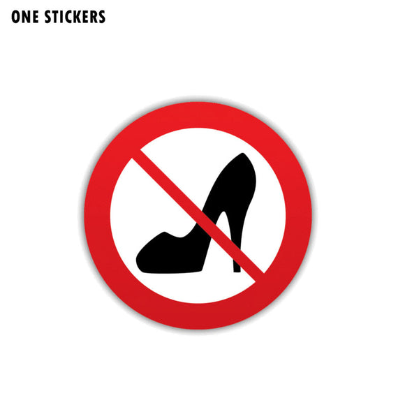 11CM*11CM Warning Car Sticker Funny No Women Shoe PVC Decal 12-1410