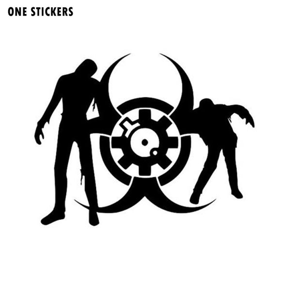 12*9.4CM ZOMBIES WITH BIOHAZARD SYMBOL Fashion Decals Car Sticker Black/Silver Vinyl S8-1231