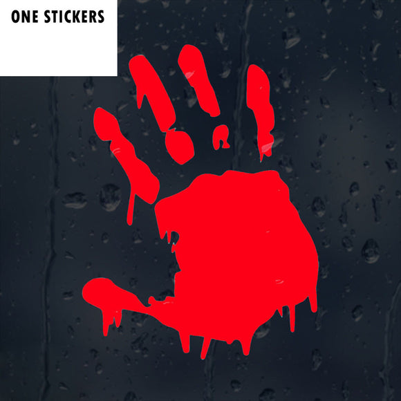 11.3CMX15CM Bloody Hand Print Zombie Vinyl Car Window Sticker Motorcycle Decal Accessories Black Silver Red C1-2138