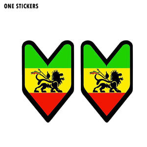 7.1CM*11CM Funny JDM Rasta Flag  Car Sticker PVC Reflective Decal 12-1365