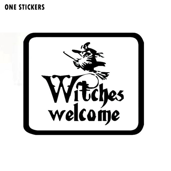 16.5x14CM Fashion WITCHES WELCOME Halloween Spook ZOMBIE GHOST Vinyl Car-styling Decals Car Sticker Black/Silver S8-1208