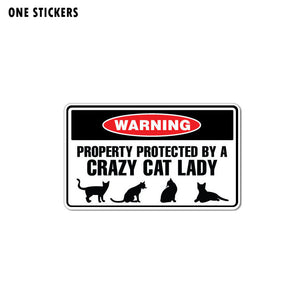 15CM*8.8CM Funny Protected By Crazy Cat Lady Animal PVC Decal Car Sticker 12-1008