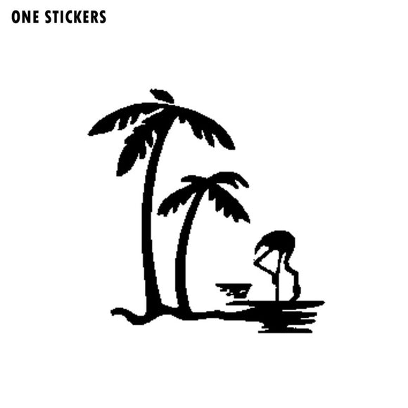 16.2CM*16.6CM Fashion Palm Tree And Flamingo Vinyl Car Sticker Decal Black/Silver Accessories C15-0986