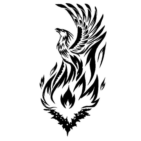 10.1*20CM Mythical Phoenix With Cool Flame Vinyl Car Stickers Reflective Decal Car Styling Black/Silver S1-2484