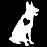 10.2*15.2 CM German Shepherd Heart Pet Love Dog Vinyl Decal Car Stickers Car Styling Truck Decoration Black/Silver S1-1483