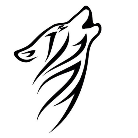 10.5*15.2CM Tribal Howling Wolf Pattern Vinyl Car Stickers Reflective Car Styling Decals Black/Silver S1-2266