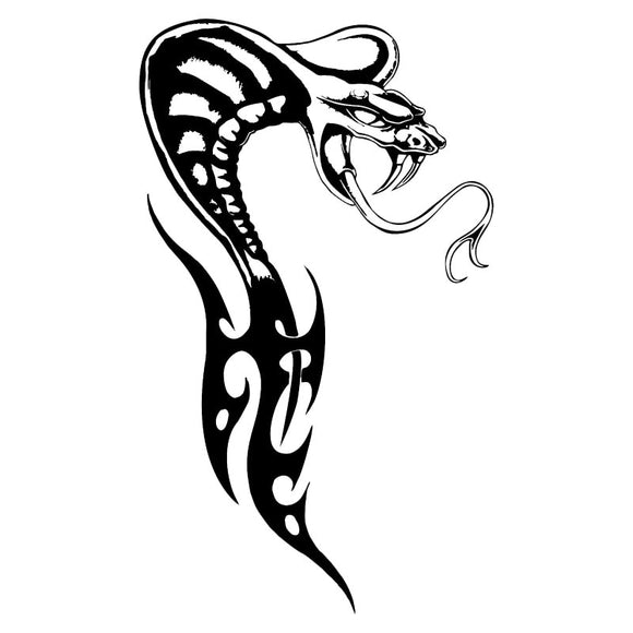 10.6*18CM Cobra Serpent Reptile Vinyl Car Styling Crazy Tribal Snake Car Stickers And Decal Black/Silver S1-2722