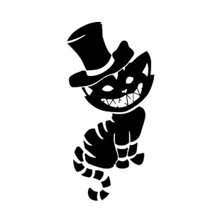 10.7*21.6CM Cheshire Cat Inspired Car Sticker Vinyl Car Styling Fashion Accessories Decal Stickers Black/Silver S1-0156
