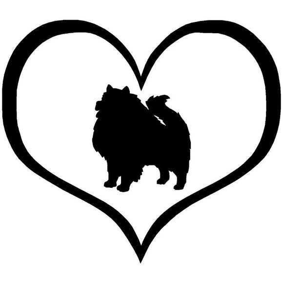 10.9*9.5CM Keeshond Dog Heart Vinyl Decal Waterproof Car Stickers Car Styling Bumper Accessories Black/Silver S1-1110