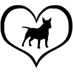 10.9*9.5CM Mini Bull Terrier Dog Heart Vinyl Decal Lovely Car Stickers Car Styling Truck Decoration Black/Silver S1-1095