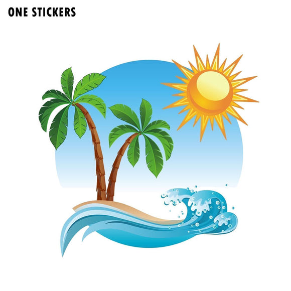 15.2CM*14.8CM Palm Tree Tropical Island Car Sticker Funny Decal PVC 12-0541