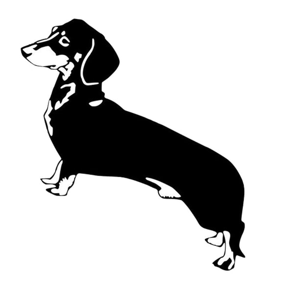 11.4*12.7CM Dachshund Dog Decals Cartoon Creative Waterproof Car Stickers Car Styling Decoration Black/Silver S1-0306