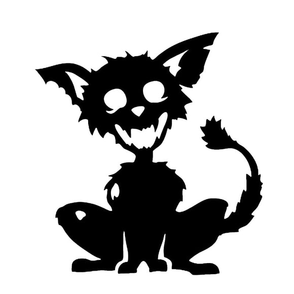 11.4*12.7CM Zombie Pet Cat Car Sticker Vinyl Fation Lovely Car Styling Truck Accessories Stickers Black/Silver S1-0087