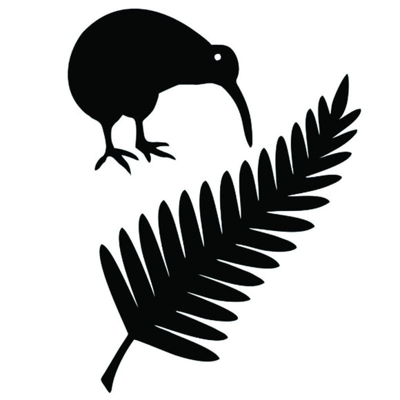 11.4*15CM Kiwi Bird And New Zealand Fern Vinyl Car Stickers Creative Car Styling Decal Black/Silver S1-2427