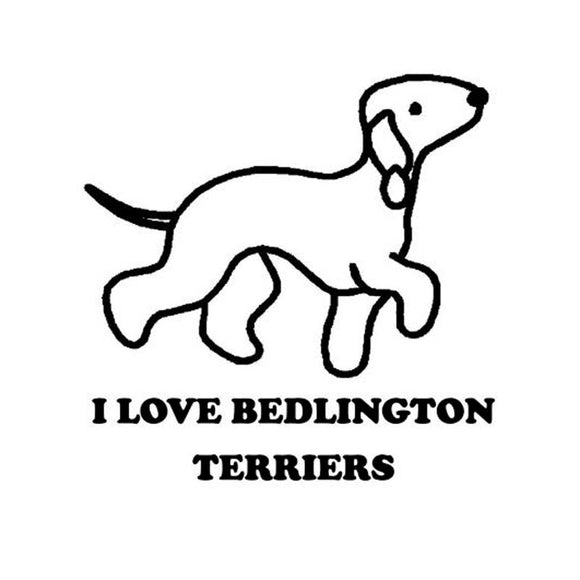 11.5CM*11.5CM I LOVE BEDLINGTON TERRIER DOG WHITE Car Stickers Motorcycle Decals Personalized Car Stickers C8-0023