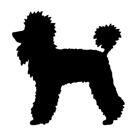 12.4*12.7CM Poodle Dog Car Stickers Cute Vinyl Decal Car Styling Truck Decoration Black/Silver S1-0853