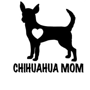 12.5CM*12.7CM Chihuahua Mom Love Heart Dog Puppy Auto High Quality Vinyl Decals Car Sticker And Stylings Black Sliver C8-0762