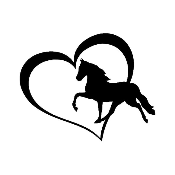 12.7*10.2CM Lovely Horse With Heart Car Sticker Creative Car Styling Bumper Decals Black/Sliver S1-2003