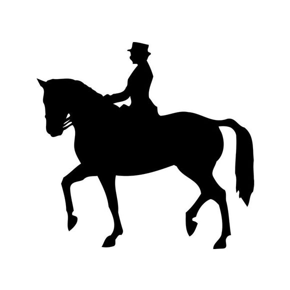 13*14CM HORSEBACK RIDING Decorative Body of The Car Sticker Decals Black/Silver C2-0109