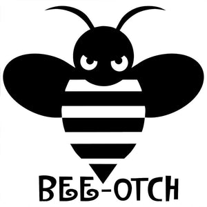 13.1CM*12.7CM Bee Otch Decal JDM Import Tuner Truck Girly Funny Car Stickers And Decals Accessories Black Sliver C8-1044