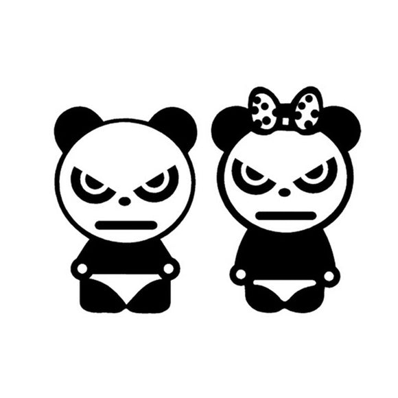 13.5*10CM Angry Bear Panda Car Sticker Decal Cartoon Animal Panda Window Decoration Car Stickers And Decals C2-0069