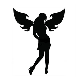 13.5*17.5CM Sexy Girl ANGEL WINGS Car Stickers Decals Decorative Car Styling Black/Silver C2-0253