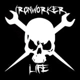 13.5CMX13.5CM Ironworker Life Skull Fun Car Stickers Vinyl Decals Black/Silver C1-3143