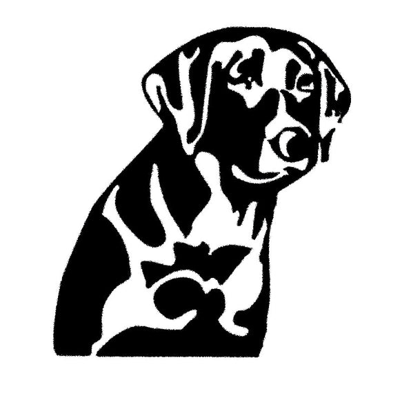 13.8*15.2CM LAB Labrador Retriever Dog Vinyl Decal Creative Waterproof Car Stickers Car Styling Accessories Black/Silver S1-0416