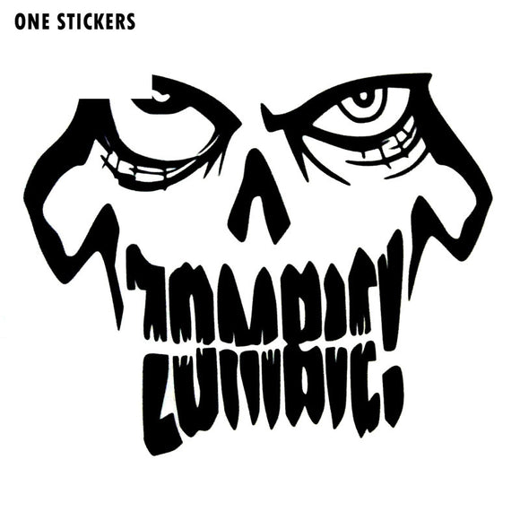 14*11.5CM Funny ZOMBIE SKULL Black/Silver Vinyl Decals Car Window Stickers Car-styling S8-1265