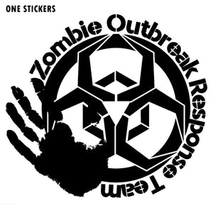 16CMX14.6CM Personality ZOMBIE Outbreak Response Team Decals Car-styling Black/Silver Car Sticker Vinyl S8-1168