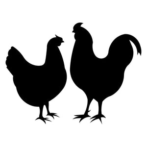 14*10.5CM Chicken & Rooster Lovely Couple Car Styling Creative Vinyl Car Stickers And Decal Black/Silver S1-2467