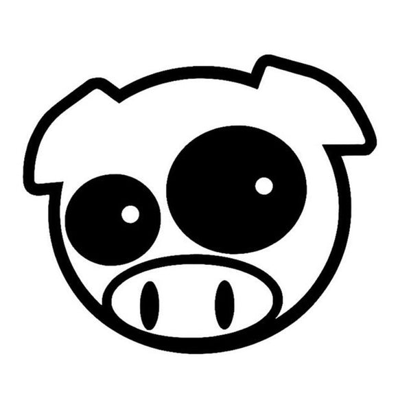 14*12CM MAD PIG MASCOT RALLY Fun Animal Car Stickers Motorcycle Decals Car Styling Black/Silver C2-0215