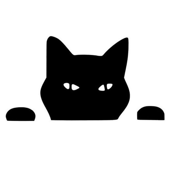 14*7.5CM Pet CAT PEEPING Cat Fun Car Stickers And Decals Motorcycle Car Styling Black/Silver C2-0142