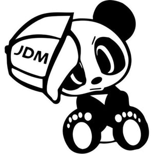 14.7CM*15.2CM Panda JDM Vinyl Cute Animals Decal Sticker And Motorcycle Decorating Stickers Black Sliver C8-0851
