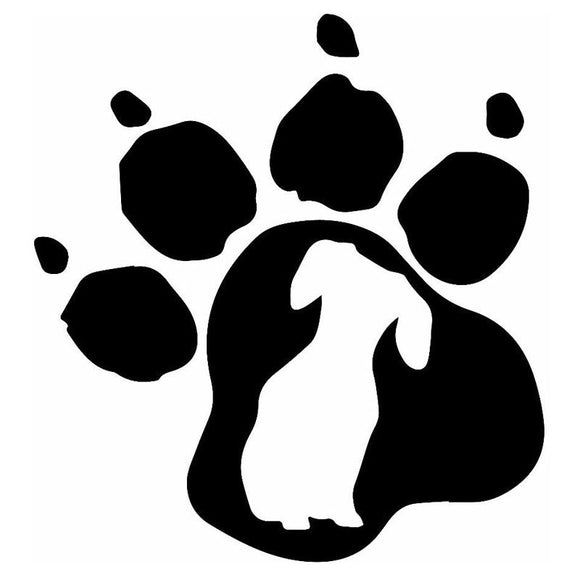 14.9*16CM Dachshund Dog Paw Print Vinyl Decal Personality Car Stickers Car Styling Motorcycle Accessories Black/Silver S1-1268