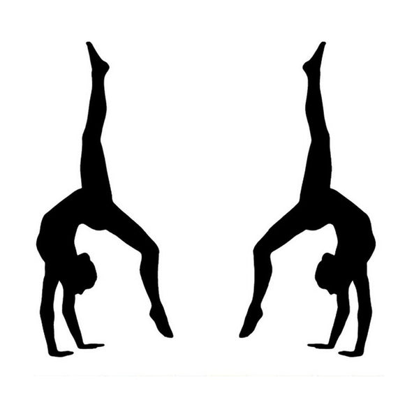 15*12.5CM GYMNASTICS Gym Girl Car Stickers Motorcycle Decals Car Styling Accessories Black/Silver C2-0177