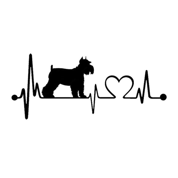 15.2*6.4CM Schnauzer Heartbeat Dog Car Stickers Waterproof Vinyl Decal Car Styling Bumper Decoration Black/Silver S1-0730