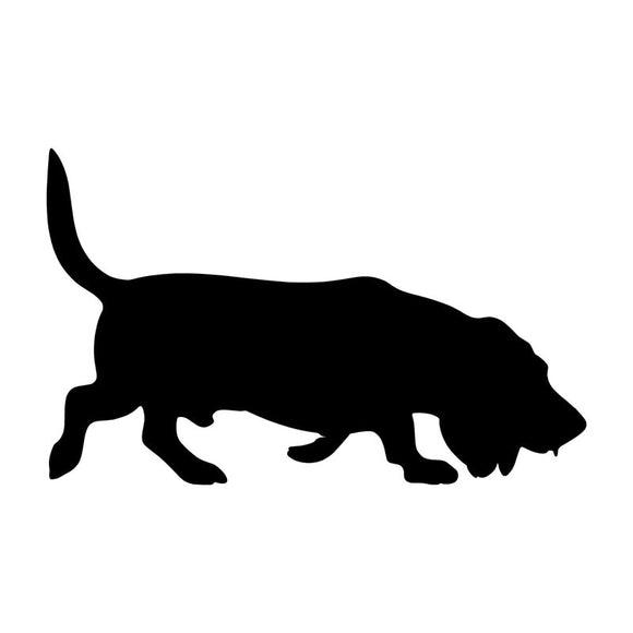 15.2*9.5CM Basset Hound Dog Vinyl Decal Ceative Car Stickers Motorcycle Car Styling Accessories Black/Silver S1-0480