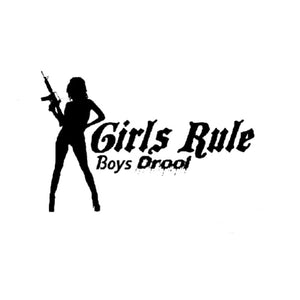 15.2CM*10CM Girls Rule Boys Drool Machine Gun Car Sticker Vinyl Decal Decorate Sticker Black Silver C8-1292